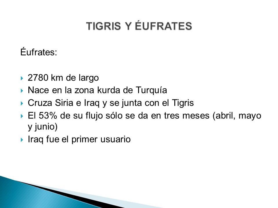 TIGRIS Y ÉUFRATES Éufrates: 2780 km de largo