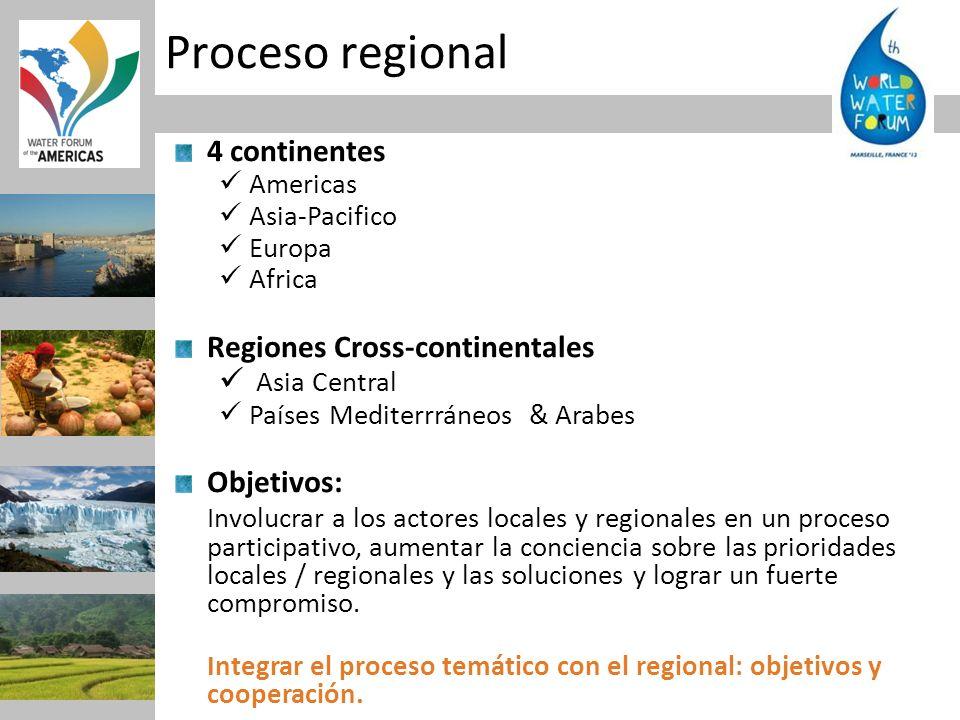 Proceso regional 4 continentes Regiones Cross-continentales