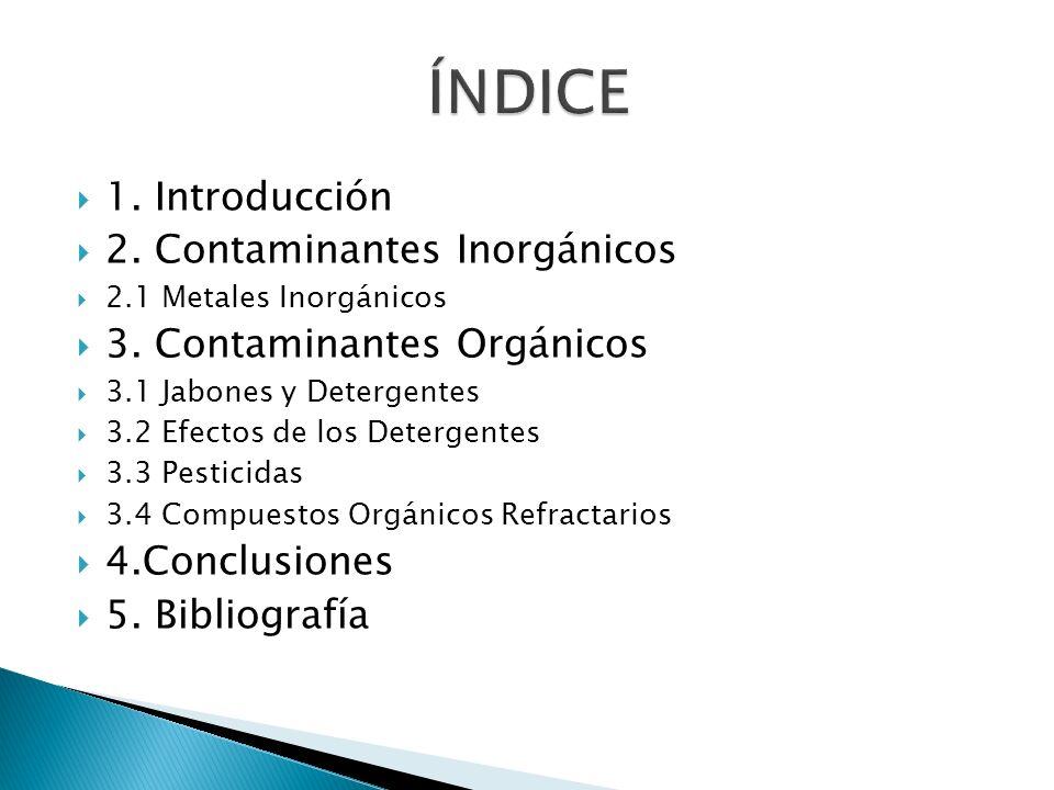 ÍNDICE 1. Introducción 2. Contaminantes Inorgánicos