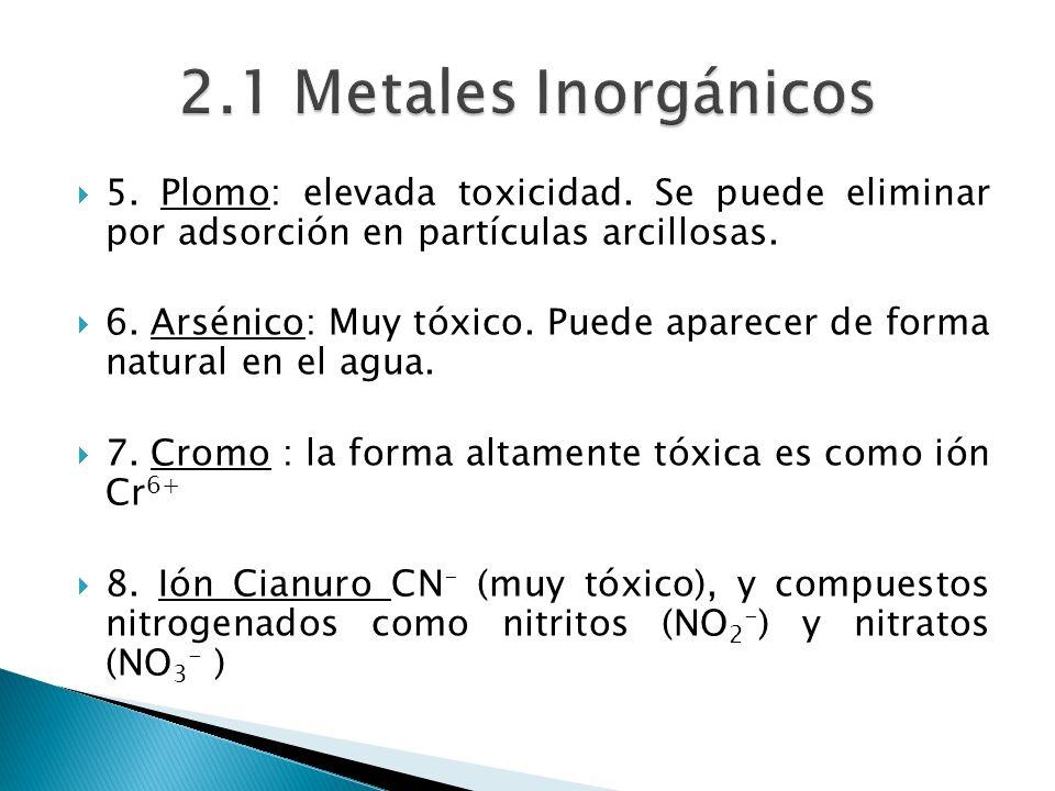 2.1 Metales Inorgánicos 5. Plomo: elevada toxicidad. Se puede eliminar por adsorción en partículas arcillosas.