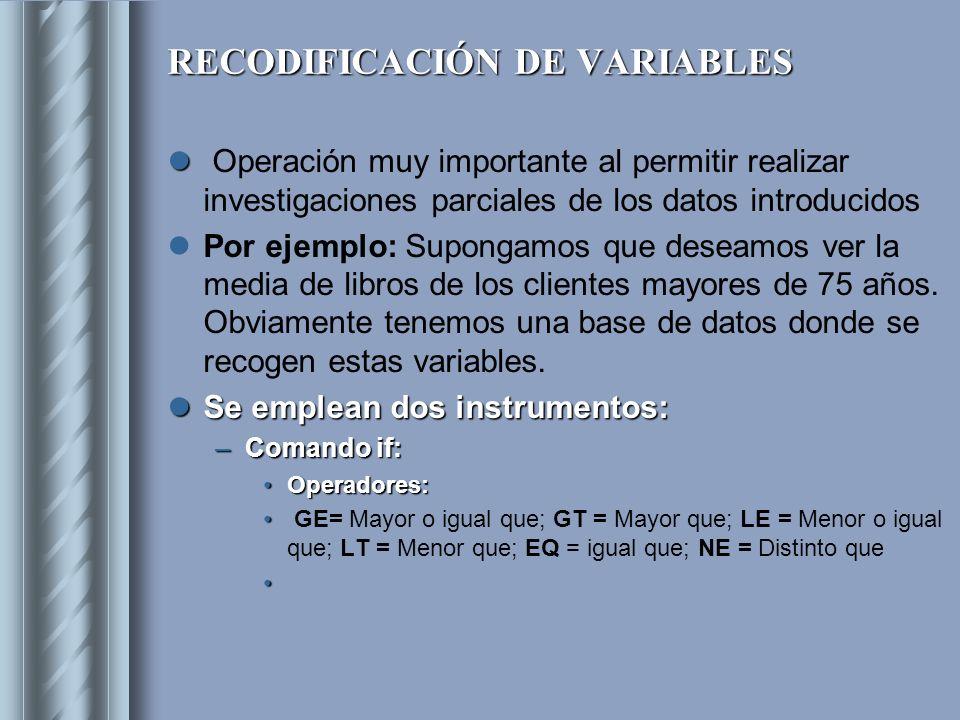 RECODIFICACIÓN DE VARIABLES