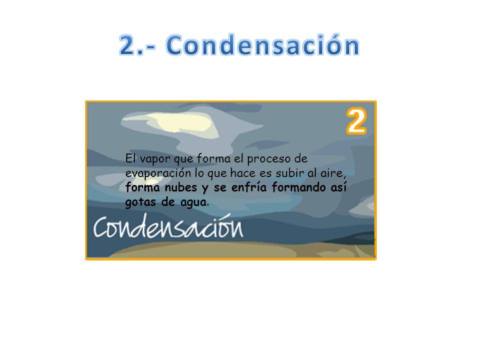 2.- Condensación El vapor que forma el proceso de evaporación lo que hace es subir al aire, forma nubes y se enfría formando así gotas de agua.