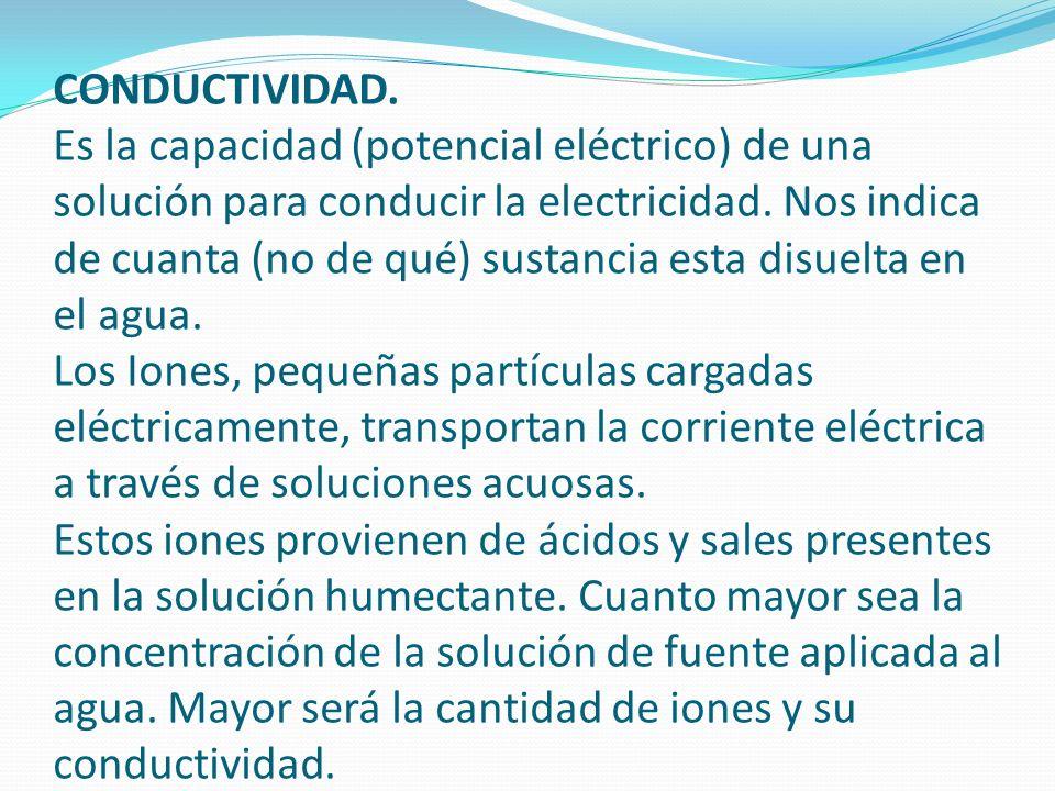 CONDUCTIVIDAD. Es la capacidad (potencial eléctrico) de una solución para conducir la electricidad.
