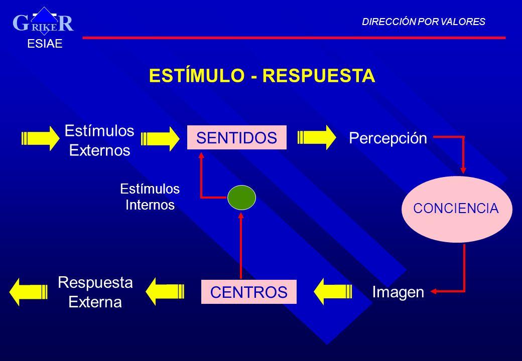 G ESTÍMULO - RESPUESTA Estímulos Externos SENTIDOS Percepción