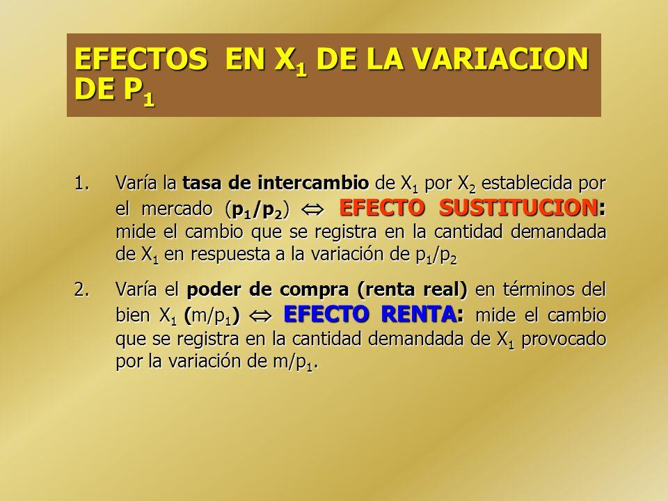 EFECTOS EN X1 DE LA VARIACION DE P1