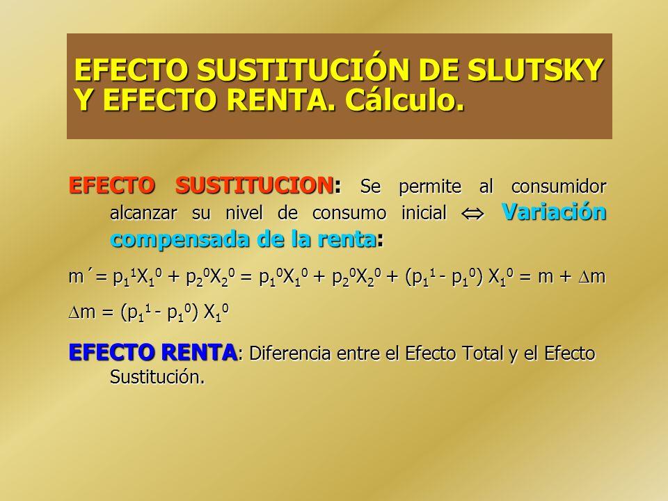 EFECTO SUSTITUCIÓN DE SLUTSKY Y EFECTO RENTA. Cálculo.