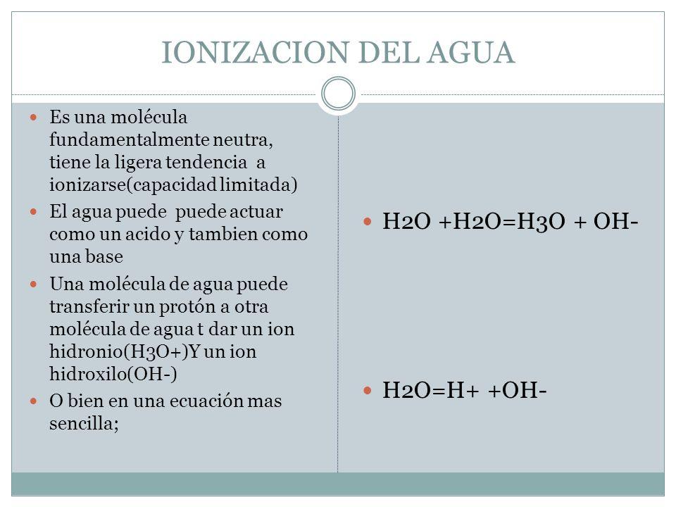 IONIZACION DEL AGUA H2O +H2O=H3O + OH- H2O=H+ +OH-