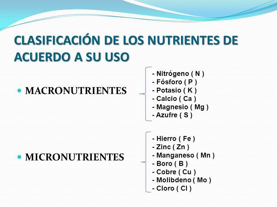 CLASIFICACIÓN DE LOS NUTRIENTES DE ACUERDO A SU USO