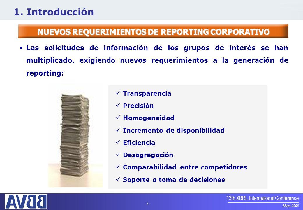 NUEVOS REQUERIMIENTOS DE REPORTING CORPORATIVO