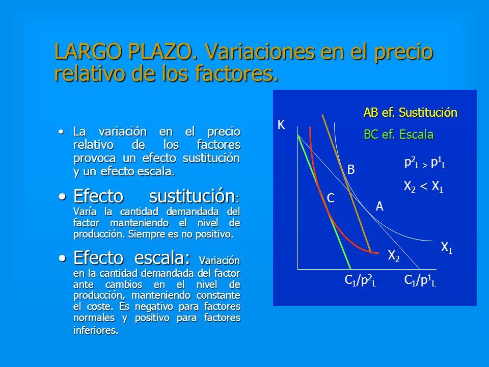 LARGO PLAZO. Variaciones en el precio relativo de los factores.