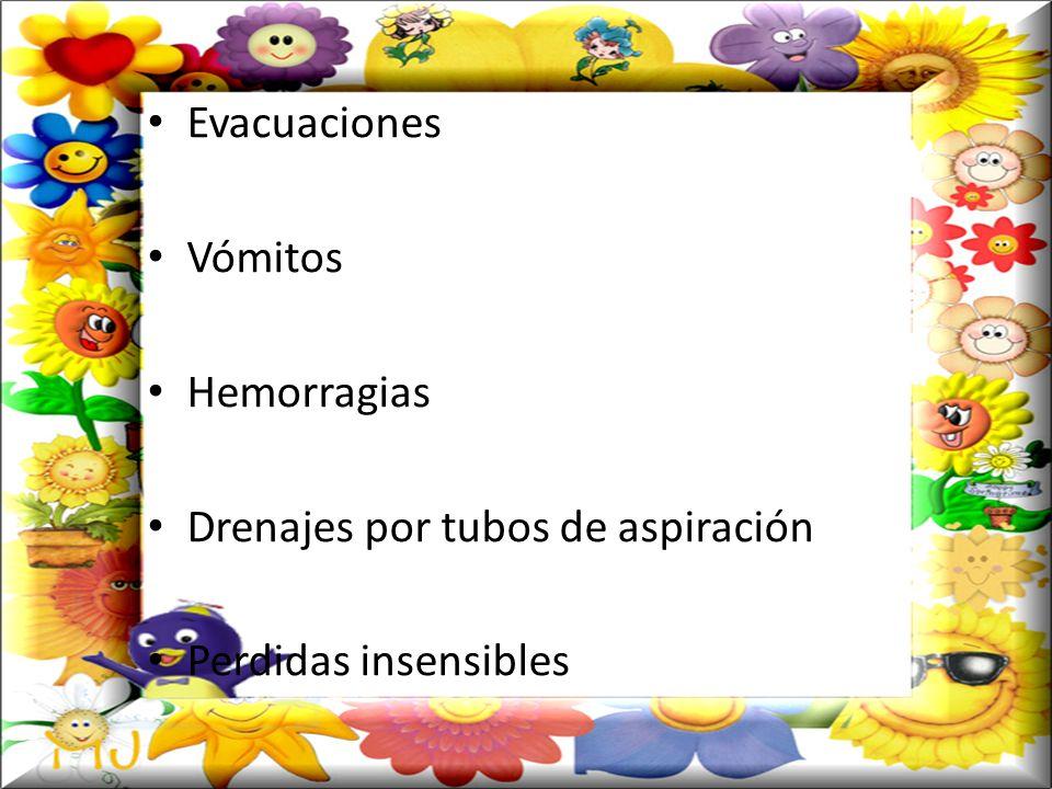 Evacuaciones Vómitos Hemorragias Drenajes por tubos de aspiración Perdidas insensibles