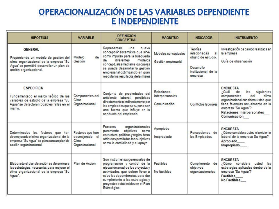 OPERACIONALIZACIÓN DE LAS VARIABLES DEPENDIENTE