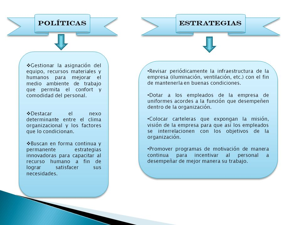 POLÍTICAS ESTRATEGIAS