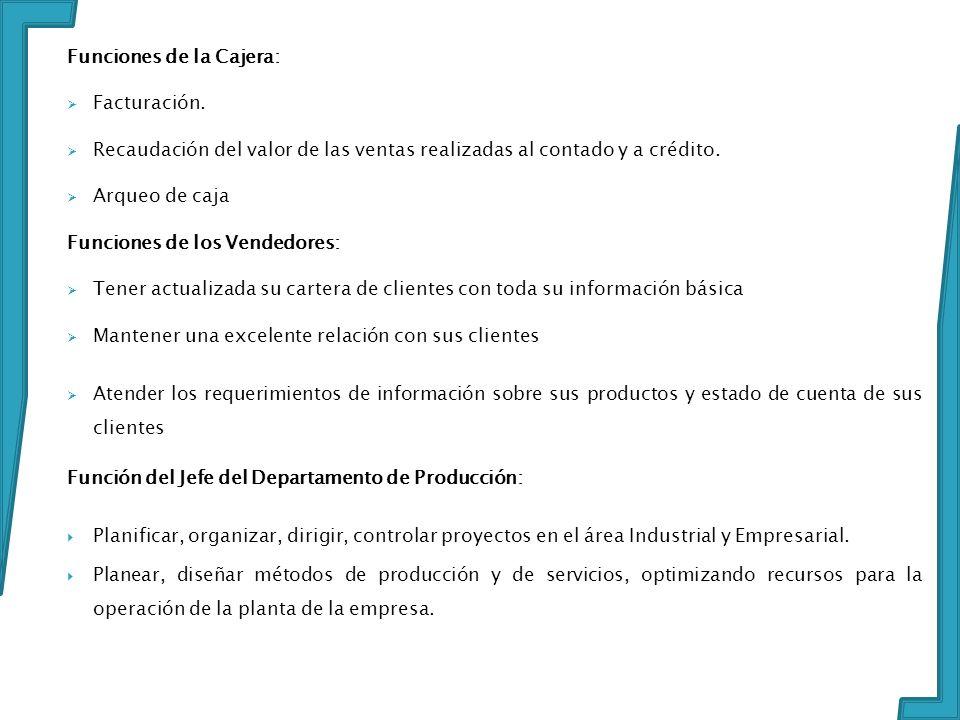 Funciones de la Cajera: Facturación.