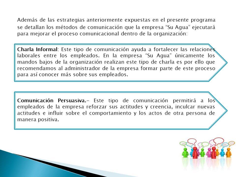 Además de las estrategias anteriormente expuestas en el presente programa se detallan los métodos de comunicación que la empresa Su Agua ejecutará para mejorar el proceso comunicacional dentro de la organización:
