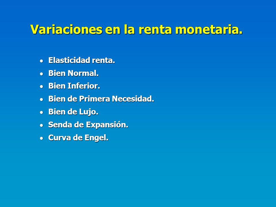 Variaciones en la renta monetaria.