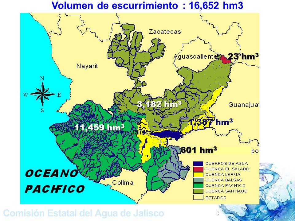 Volumen de escurrimiento : 16,652 hm3
