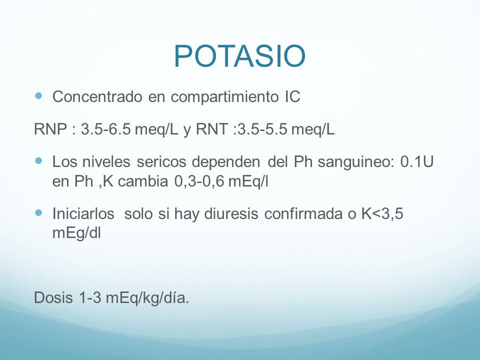 POTASIO Concentrado en compartimiento IC