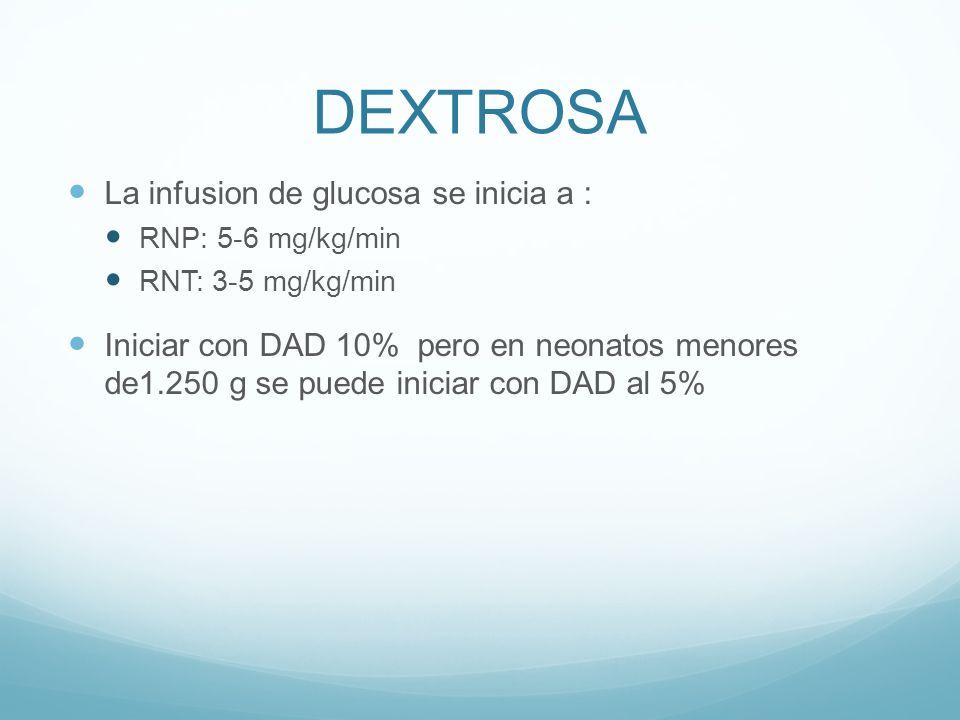 DEXTROSA La infusion de glucosa se inicia a :