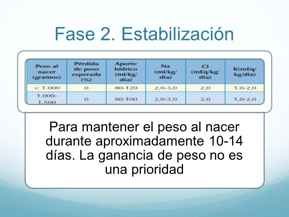 Fase 2. Estabilización Para mantener el peso al nacer durante aproximadamente 10-14 días.