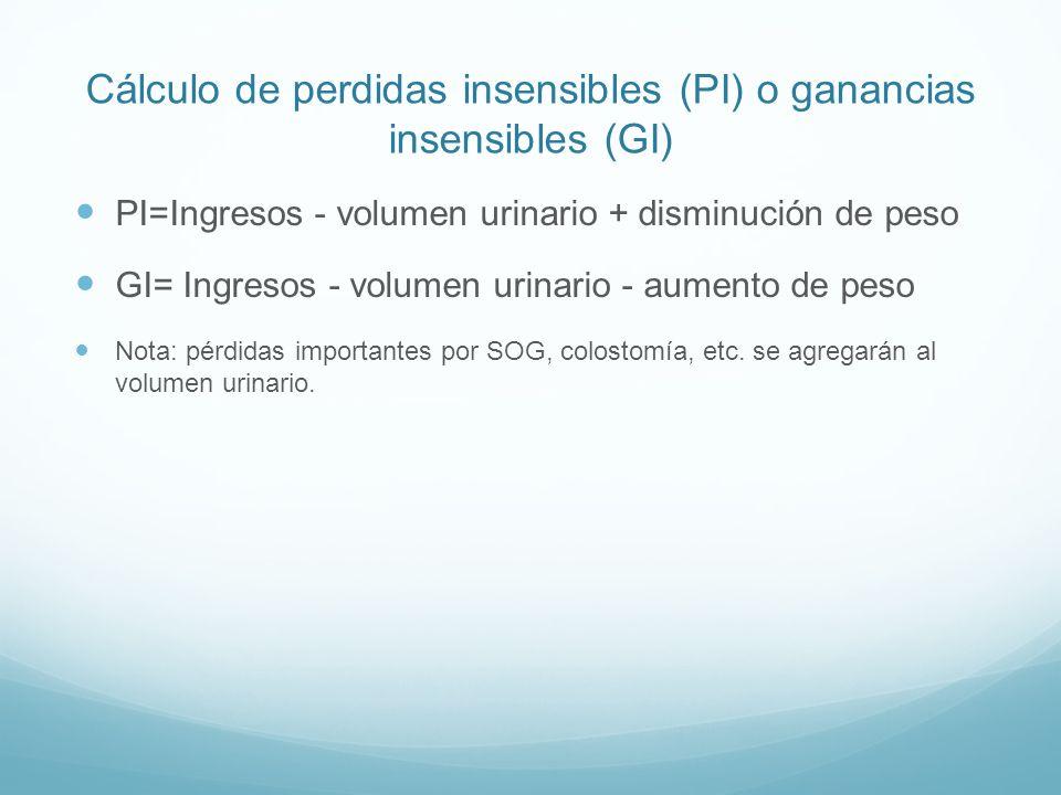 Cálculo de perdidas insensibles (PI) o ganancias insensibles (GI)