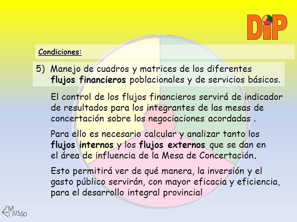 I P. D. Condiciones: 5) Manejo de cuadros y matrices de los diferentes flujos financieros poblacionales y de servicios básicos.
