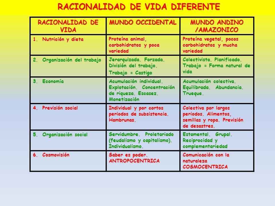 RACIONALIDAD DE VIDA DIFERENTE MUNDO ANDINO /AMAZONICO