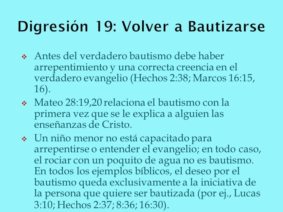 Digresión 19: Volver a Bautizarse