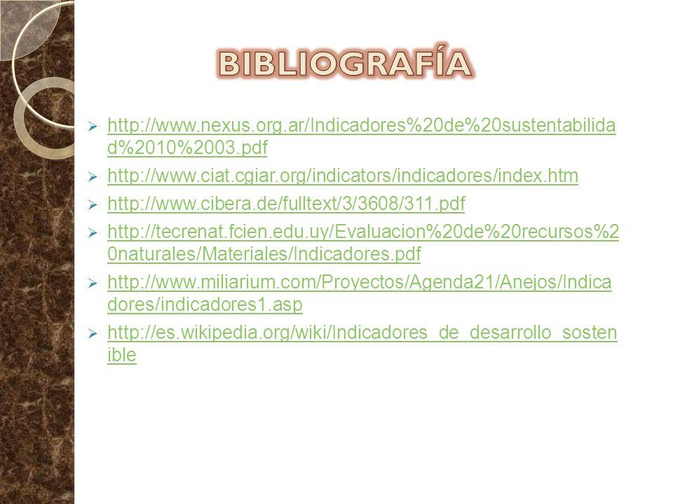 BIBLIOGRAFÍA http://www.nexus.org.ar/Indicadores%20de%20sustentabilida d%2010%2003.pdf. http://www.ciat.cgiar.org/indicators/indicadores/index.htm.