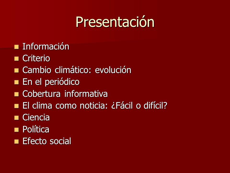 Presentación Información Criterio Cambio climático: evolución