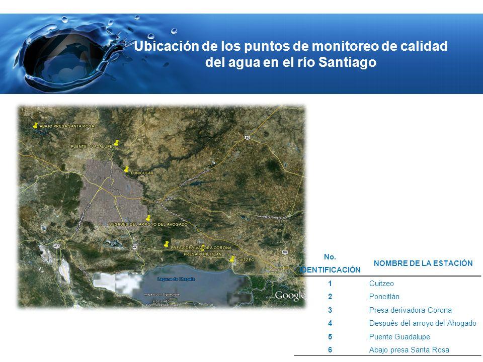 Ubicación de los puntos de monitoreo de calidad del agua en el río Santiago