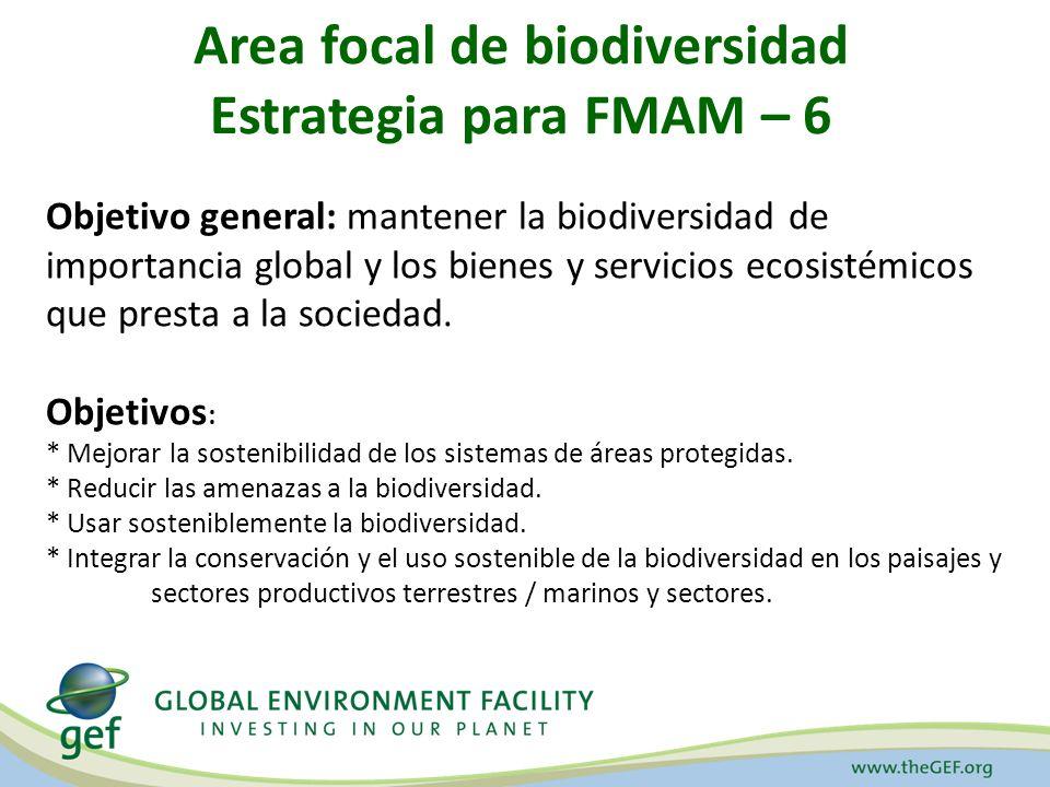 Area focal de biodiversidad Estrategia para FMAM – 6