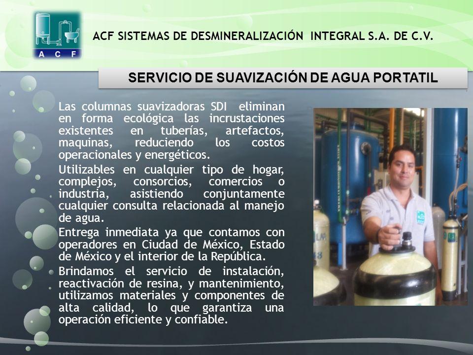 SERVICIO DE SUAVIZACIÓN DE AGUA PORTATIL