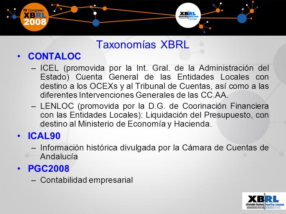 Taxonomías XBRL CONTALOC ICAL90 PGC2008