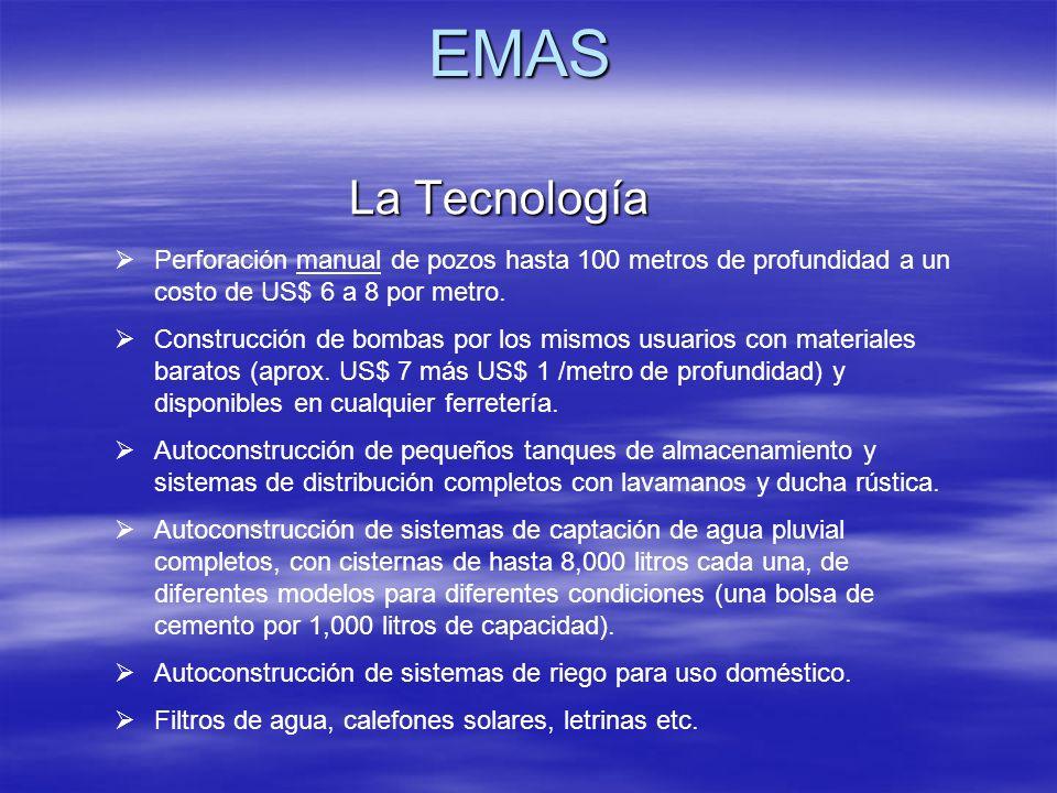 EMAS La Tecnología. Perforación manual de pozos hasta 100 metros de profundidad a un costo de US$ 6 a 8 por metro.