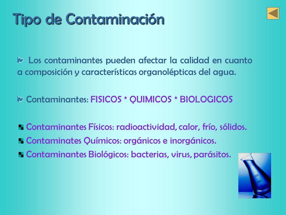 Tipo de Contaminación Los contaminantes pueden afectar la calidad en cuanto a composición y características organolépticas del agua.