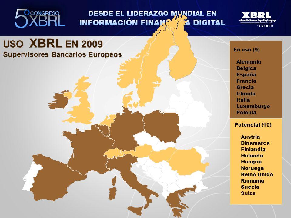 USO XBRL EN 2009 Supervisores Bancarios Europeos En uso (9) Alemania