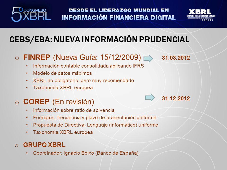 CEBS/EBA: NUEVA INFORMACIÓN PRUDENCIAL