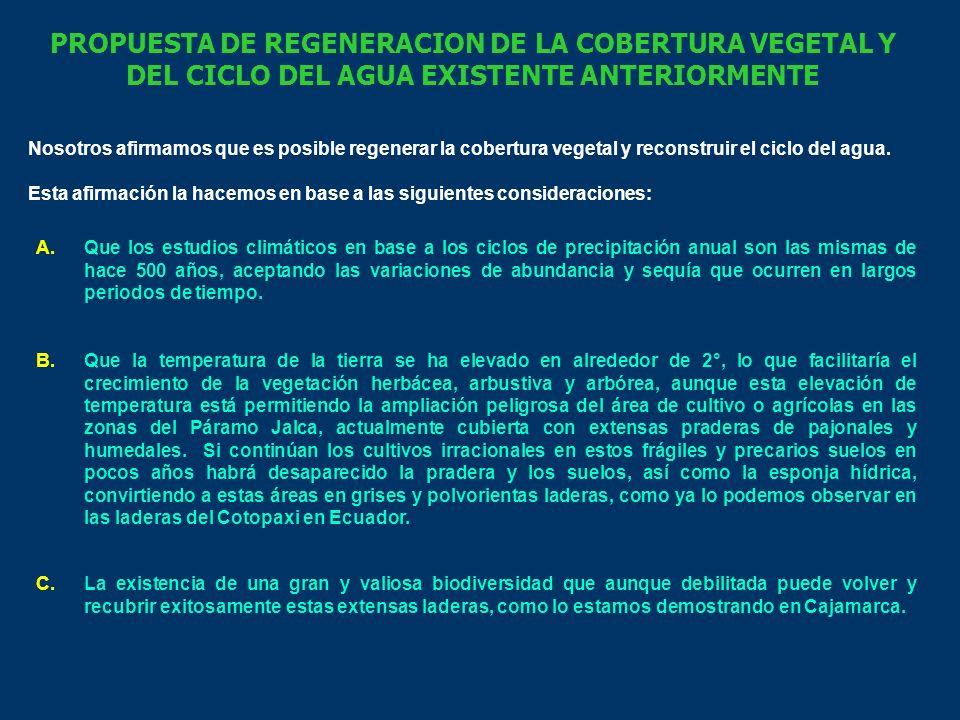 PROPUESTA DE REGENERACION DE LA COBERTURA VEGETAL Y DEL CICLO DEL AGUA EXISTENTE ANTERIORMENTE