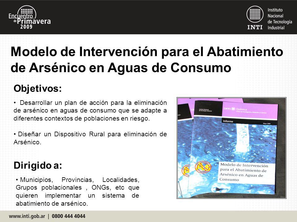 Modelo de Intervención para el Abatimiento de Arsénico en Aguas de Consumo