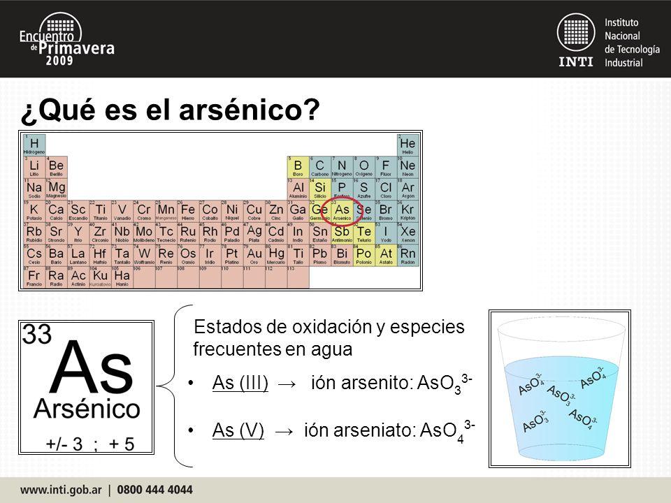 ¿Qué es el arsénico Estados de oxidación y especies frecuentes en agua. As (III) → ión arsenito: AsO33-