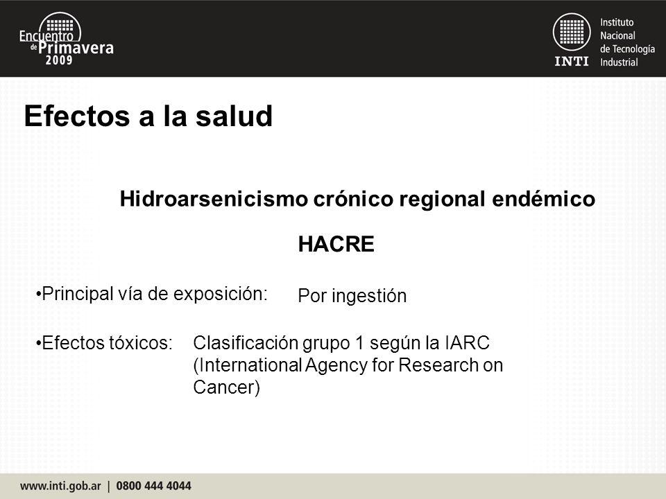 Efectos a la salud Hidroarsenicismo crónico regional endémico HACRE