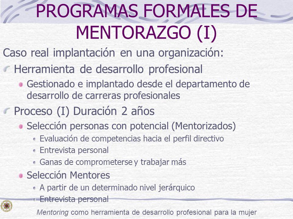 PROGRAMAS FORMALES DE MENTORAZGO (I)