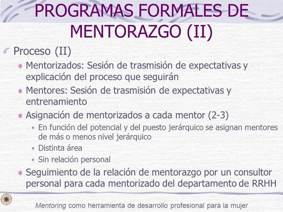 PROGRAMAS FORMALES DE MENTORAZGO (II)
