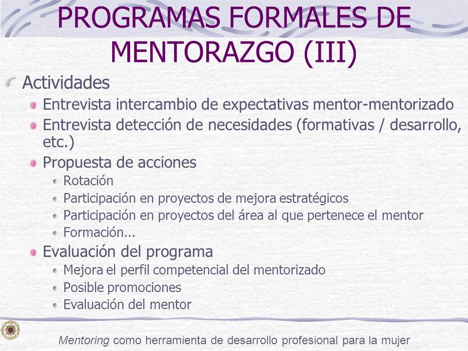 PROGRAMAS FORMALES DE MENTORAZGO (III)