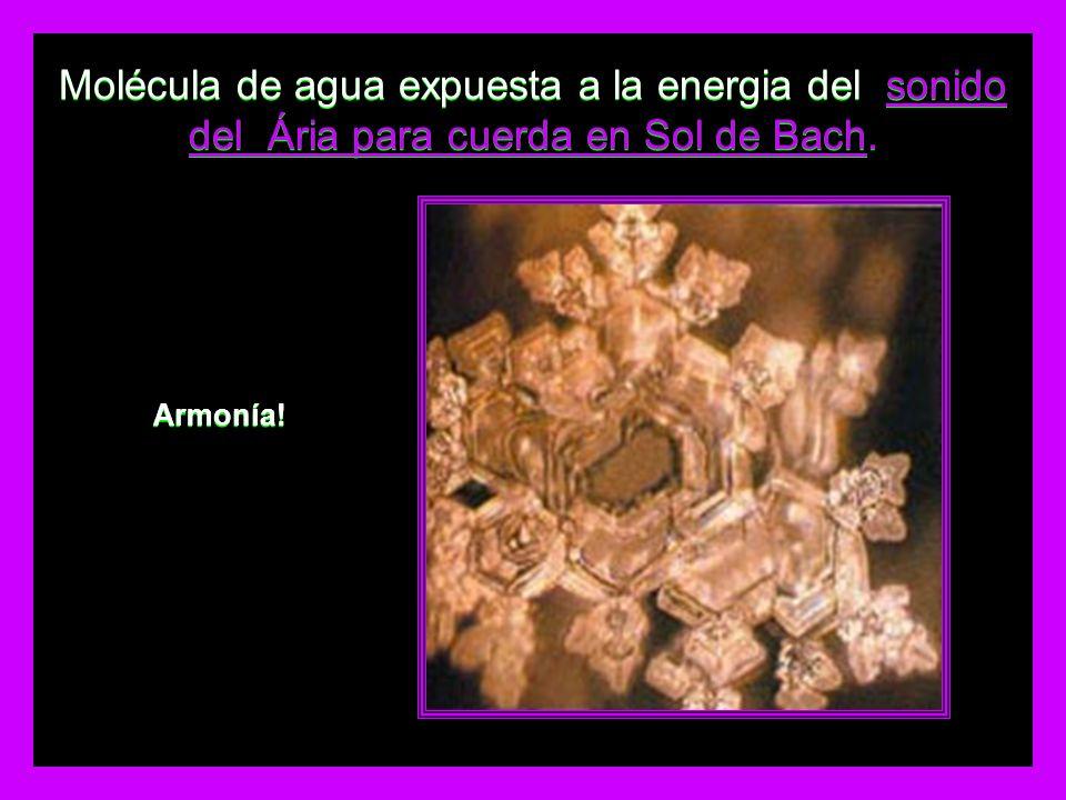 Molécula de agua expuesta a la energia del sonido del Ária para cuerda en Sol de Bach.
