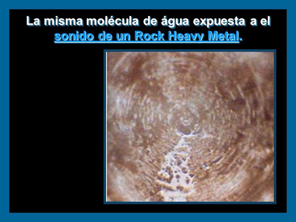 La misma molécula de água expuesta a el sonido de un Rock Heavy Metal.