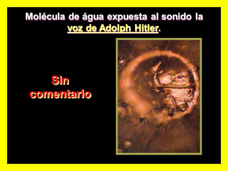 Molécula de água expuesta al sonido la voz de Adolph Hitler.