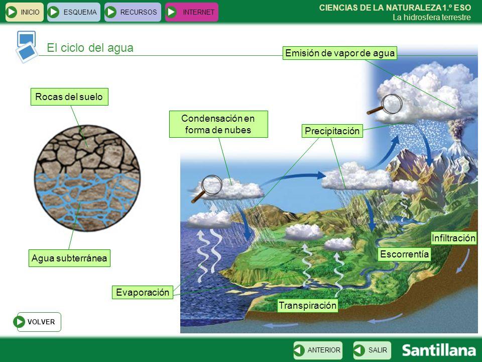 El ciclo del agua Emisión de vapor de agua Rocas del suelo