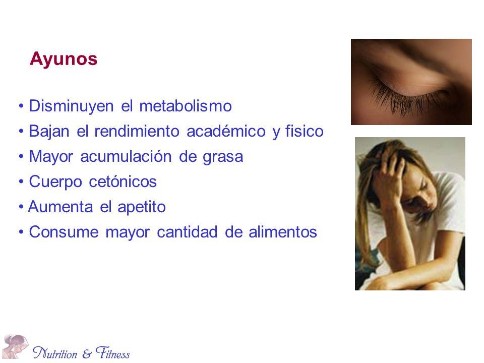 Ayunos Disminuyen el metabolismo